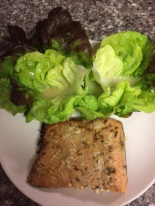 Butter Lettuce Salad with Citrus-Honey Vinaigrette Dressing and Broiled Salmon